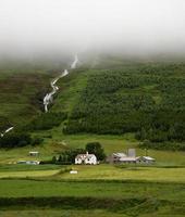 Island, Häuser und Wasserfall