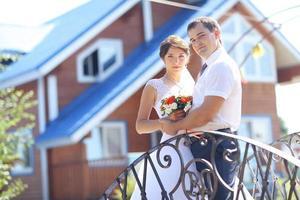 Brautpaar Haus Einweihungsparty Braut und Bräutigam