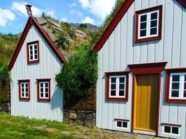 weiße Holzhäuser mit begrünten Dächern