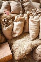 Sack Reis auf dem Strohhalm foto
