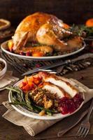 volles hausgemachtes Thanksgiving-Abendessen