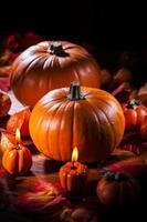 Kürbisse zum Erntedankfest und Halloween