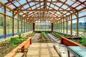großes Bauernhaus Gewächshaus foto