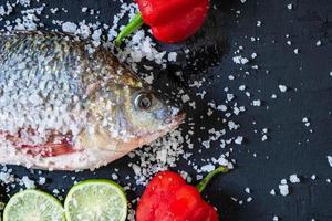 frischer Tilapia-Fisch mit Salz und Gewürzen