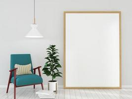 leerer Rahmen mit blaugrünem Stuhl 3d rendern