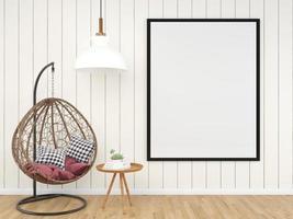 leerer Rahmen mit Nest Stuhl 3d rendern