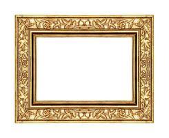 Goldrosenrahmen lokalisiert auf weißem Hintergrund und Beschneidungspfad foto