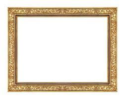Bildgoldrahmen lokalisiert auf weißem Hintergrund und Beschneidungspfad foto