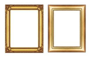 Satz Vintage goldener Rahmen, Leerzeichen isoliert auf Weiß foto