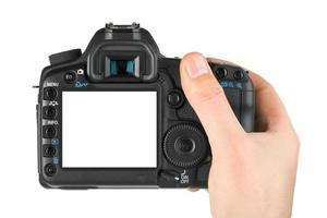 Fotokamera in der Hand