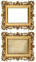 goldener Bilderrahmen im Barockstil leer und mit Leinwand