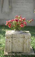 Grabstein mit Blumen foto