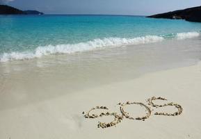 """Zeichnung von """"sos"""" auf dem Strandsand am Meer"""