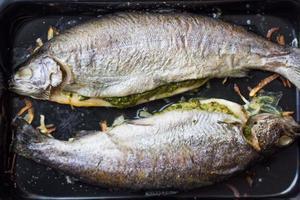 Kochen von zwei Fischen, Regenbogenforelle gefüllt mit grüner Sauce foto