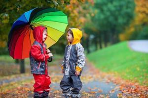 zwei entzückende Kinder, junge Brüder, die mit Regenschirm im Park spielen