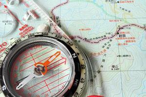Orientierungslaufkompass auf der Karte
