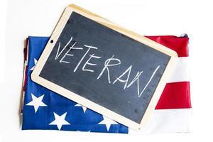 amerikanische Flagge feiert Veteranen foto