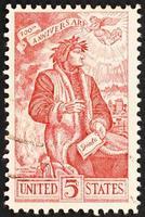 Dante Alighieri feierte auf amerikanischer alter Briefmarke foto