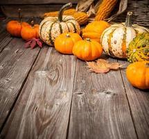 Herbststillleben mit Kürbissen und Blättern