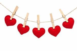 Herzen und Wäscheklammern