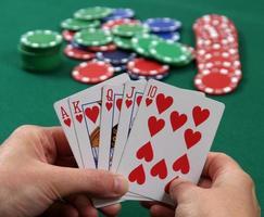 Poker Royal Flush in den Herzen foto