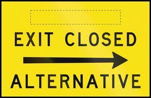 Ausfahrt geschlossen - Alternative rechts in Australien