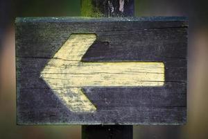 hölzernes Richtungszeichen auf dem Fußweg foto