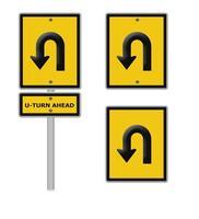 Kehrtwende-Straßenschild, Teil einer Serie.