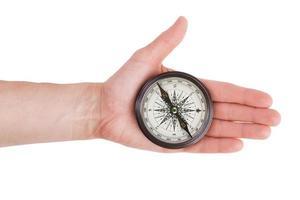 Kompass in seiner ausgestreckten Hand Mann
