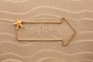 Pfeilseil mit dem Wort Kuba auf dem Sand