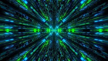 Neonlichtweg Passage im Dunkeln