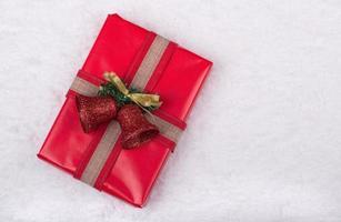 rote Weihnachtsgeschenkbox foto