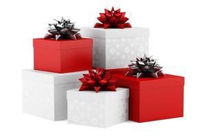 Geschenkboxen mit Bändern lokalisiert auf weißem Hintergrund foto
