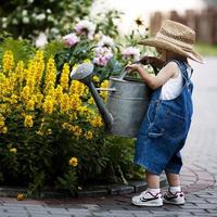 kleiner Junge mit Gießkanne im Sommerpark