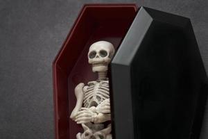 Skelett im Sarg