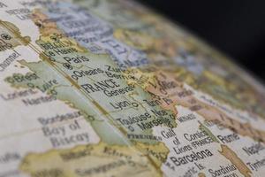 Makro Globus Karte Detail von Frankreich foto