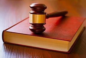 brauner Hammer und Gesetzbuch