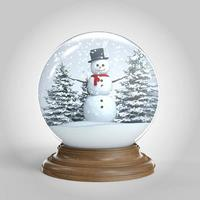 Schneekugel mit Schneemann und Bäumen isoliert