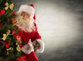 Weihnachtsmann steht in der Nähe von Weihnachtsbaum
