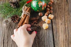 Weihnachtsgewürze, Zimt, Anis foto