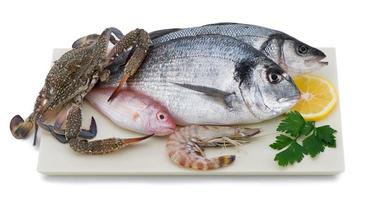 Meeresfrüchte auf Teller
