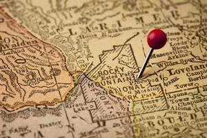 Vintage-Karte des Rocky Mountain-Nationalparks