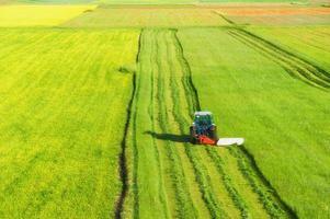Traktor mäht grünes Feld foto