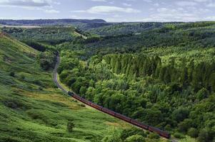 Dampfzug im Norden von York Moore, Yorkshire, Großbritannien.
