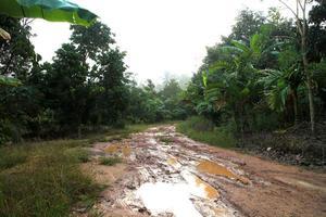 schlammige nasse Landstraße