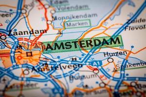 Amsterdam Stadt auf einer Straßenkarte