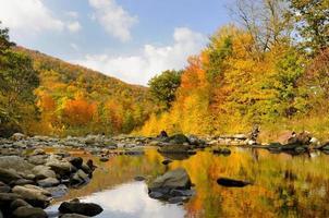 Panoramablick auf einen See im Herbst