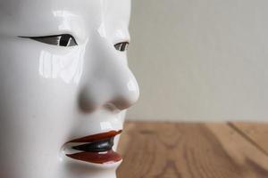 Nahaufnahme der traditionellen japanischen Theatermasken aus Seramik