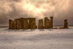 Stonehenge mit einer Prise Schnee foto