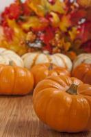 bunte Herbstblätter und Kürbisse